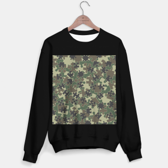 Thumbnail image of Jigsaw Puzzle Pieces Camo WOODLAND GREEN Sweater regular, Live Heroes