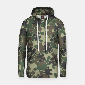 Thumbnail image of Jigsaw Puzzle Pieces Camo WOODLAND GREEN Hoodie, Live Heroes