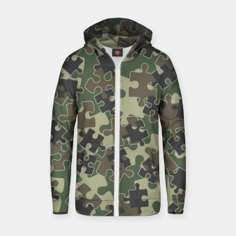 Miniature de image de Jigsaw Puzzle Pieces Camo WOODLAND GREEN Zip up hoodie, Live Heroes
