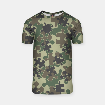 Thumbnail image of Jigsaw Puzzle Pieces Camo WOODLAND GREEN T-shirt, Live Heroes