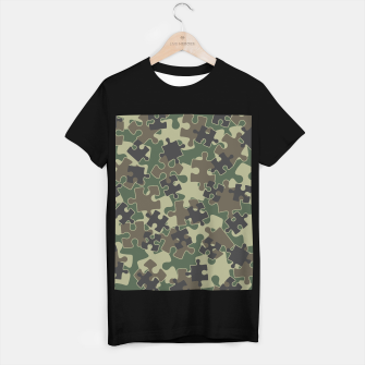 Miniatur Jigsaw Puzzle Pieces Camo WOODLAND GREEN T-shirt regular, Live Heroes