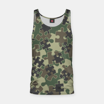 Thumbnail image of Jigsaw Puzzle Pieces Camo WOODLAND GREEN Tank Top, Live Heroes