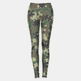 Miniatur Jigsaw Puzzle Pieces Camo WOODLAND GREEN Leggings, Live Heroes
