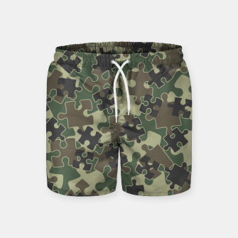 Miniatur Jigsaw Puzzle Pieces Camo WOODLAND GREEN Swim Shorts, Live Heroes