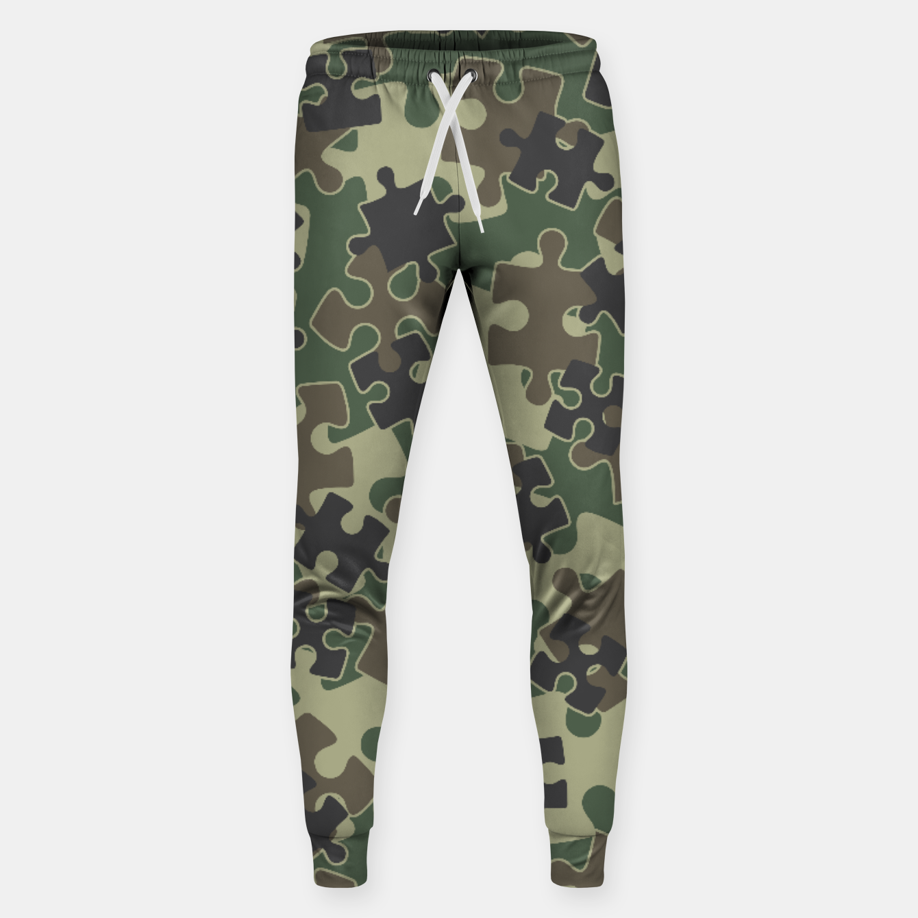 Image of Jigsaw Puzzle Pieces Camo WOODLAND GREEN Sweatpants - Live Heroes