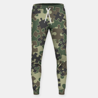 Miniatur Jigsaw Puzzle Pieces Camo WOODLAND GREEN Sweatpants, Live Heroes