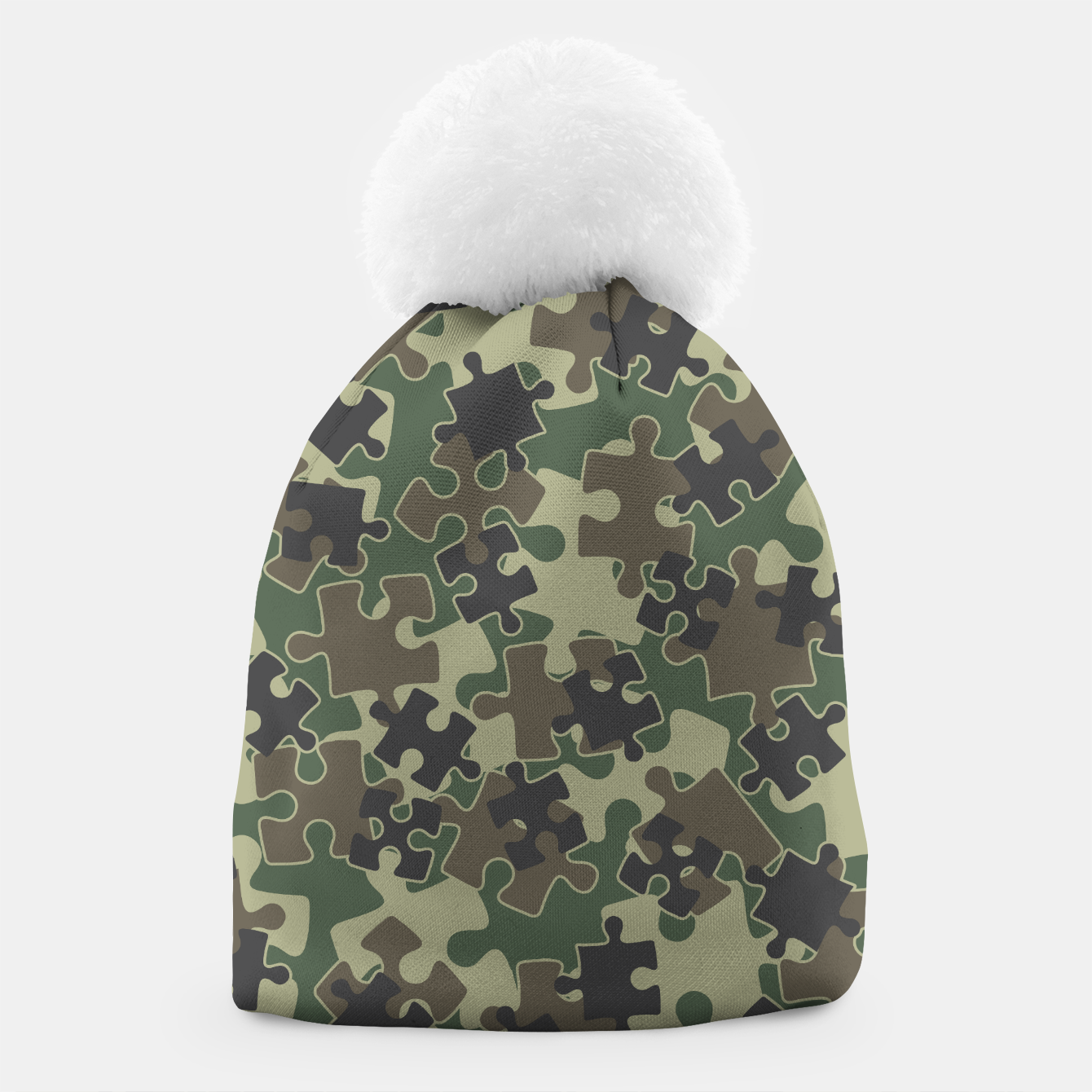 Image of Jigsaw Puzzle Pieces Camo WOODLAND GREEN Beanie - Live Heroes