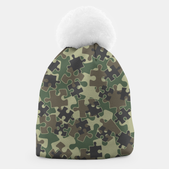 Thumbnail image of Jigsaw Puzzle Pieces Camo WOODLAND GREEN Beanie, Live Heroes