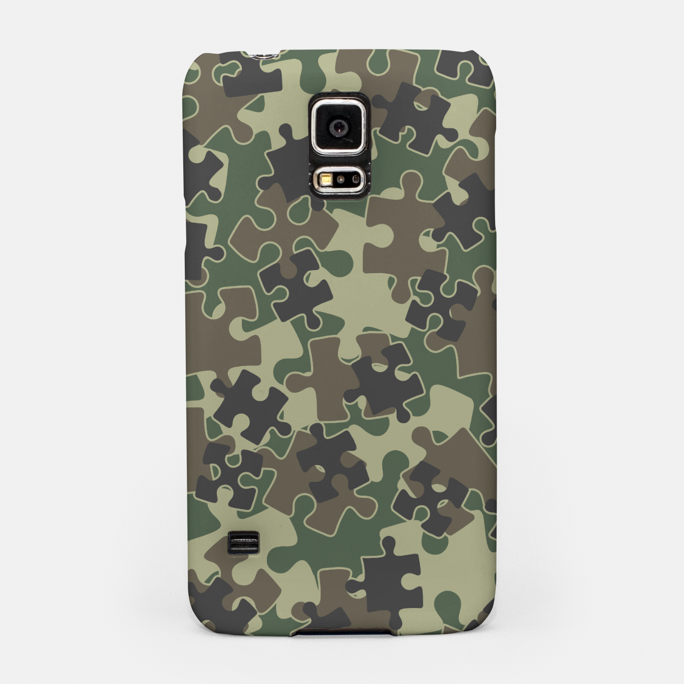Image of Jigsaw Puzzle Pieces Camo WOODLAND GREEN Samsung Case - Live Heroes