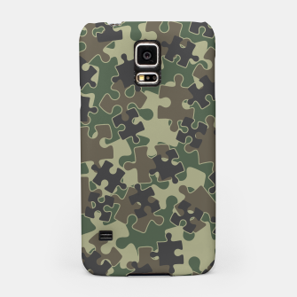 Jigsaw Puzzle Pieces Camo WOODLAND GREEN Samsung Case thumbnail image