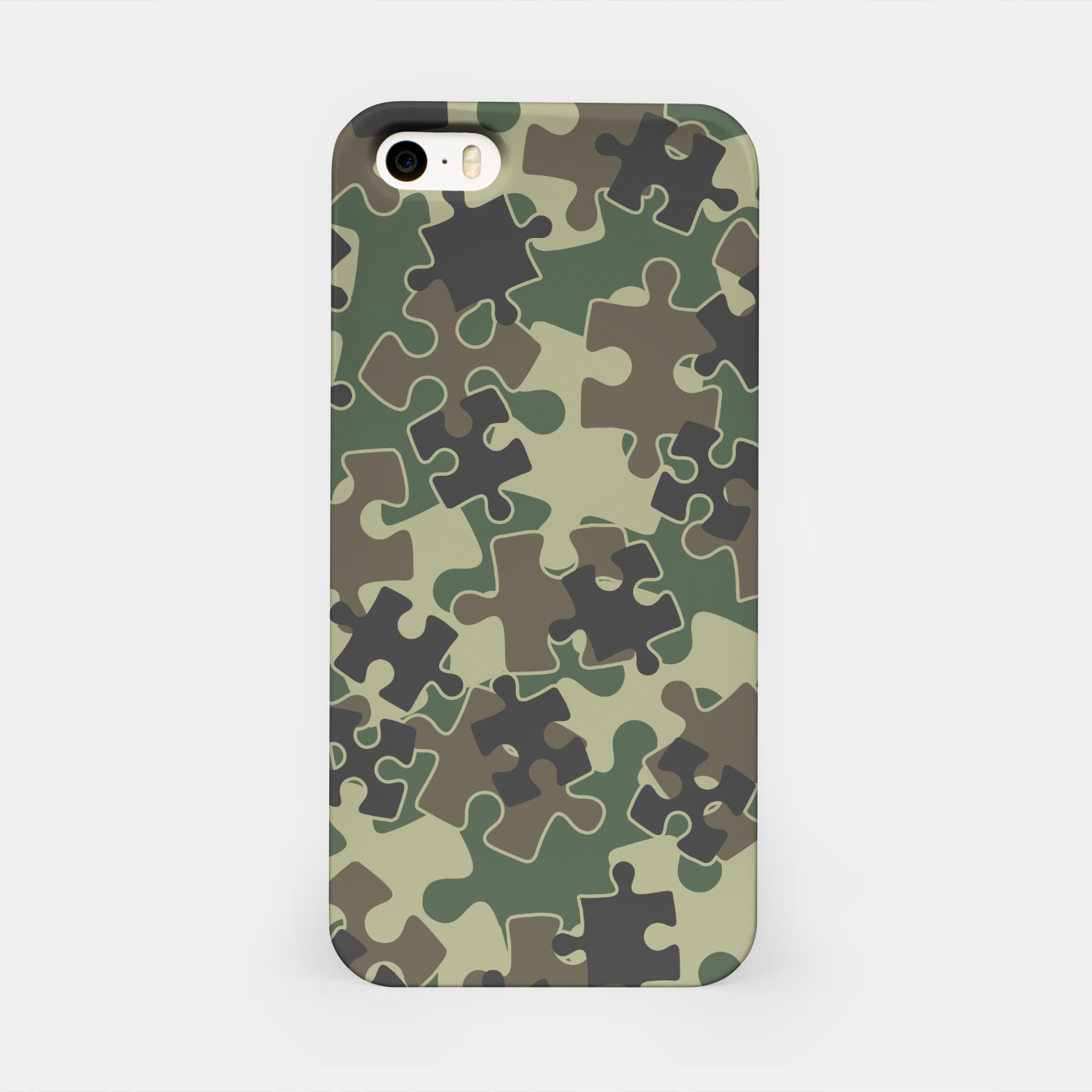Image of Jigsaw Puzzle Pieces Camo WOODLAND GREEN iPhone Case - Live Heroes
