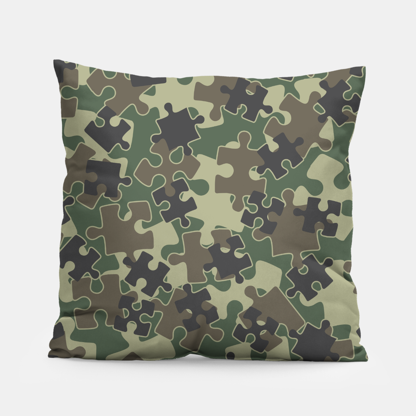 Image of Jigsaw Puzzle Pieces Camo WOODLAND GREEN Pillow - Live Heroes