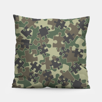 Miniatur Jigsaw Puzzle Pieces Camo WOODLAND GREEN Pillow, Live Heroes