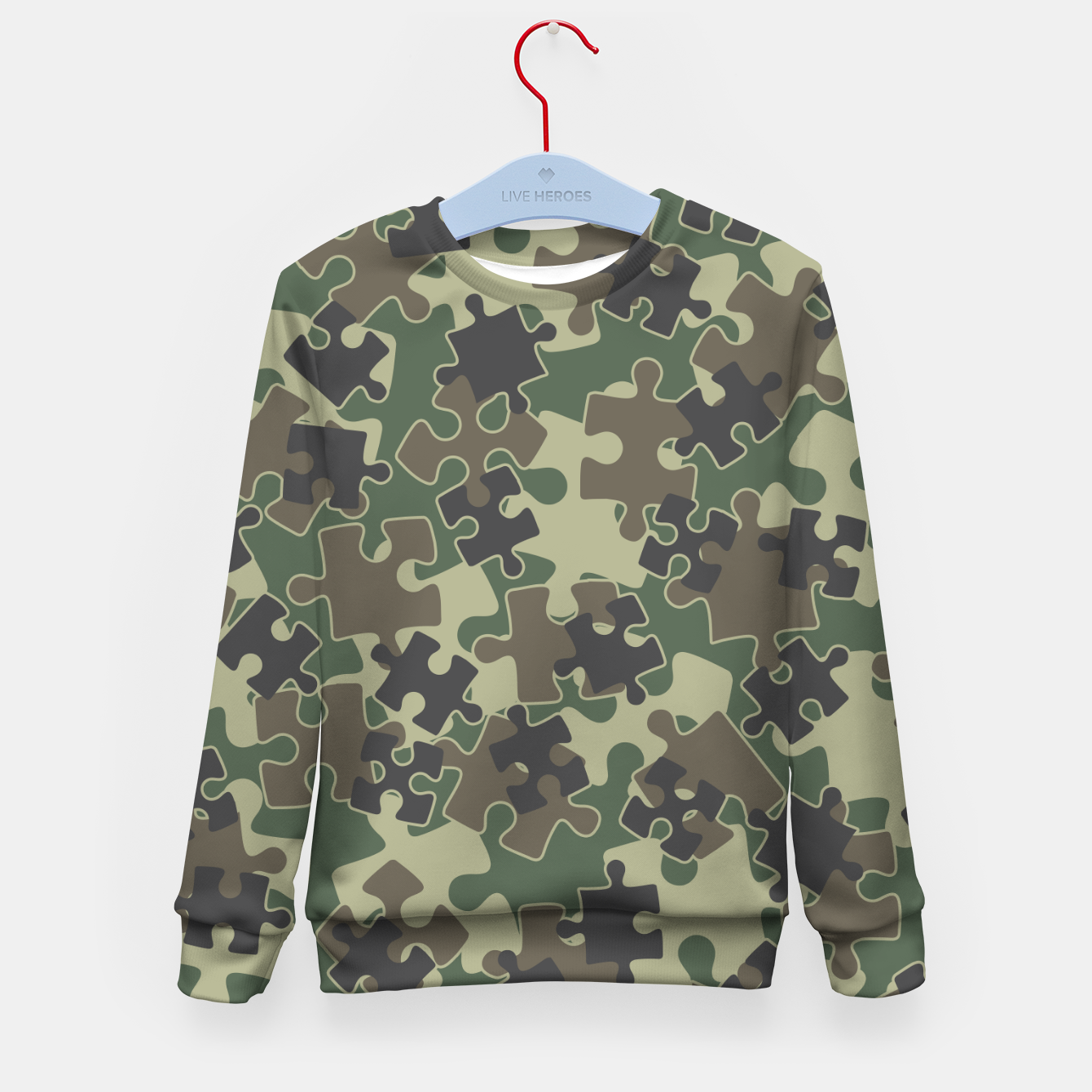 Image of Jigsaw Puzzle Pieces Camo WOODLAND GREEN Kid's sweater - Live Heroes