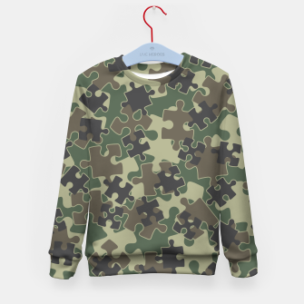 Miniatur Jigsaw Puzzle Pieces Camo WOODLAND GREEN Kid's sweater, Live Heroes