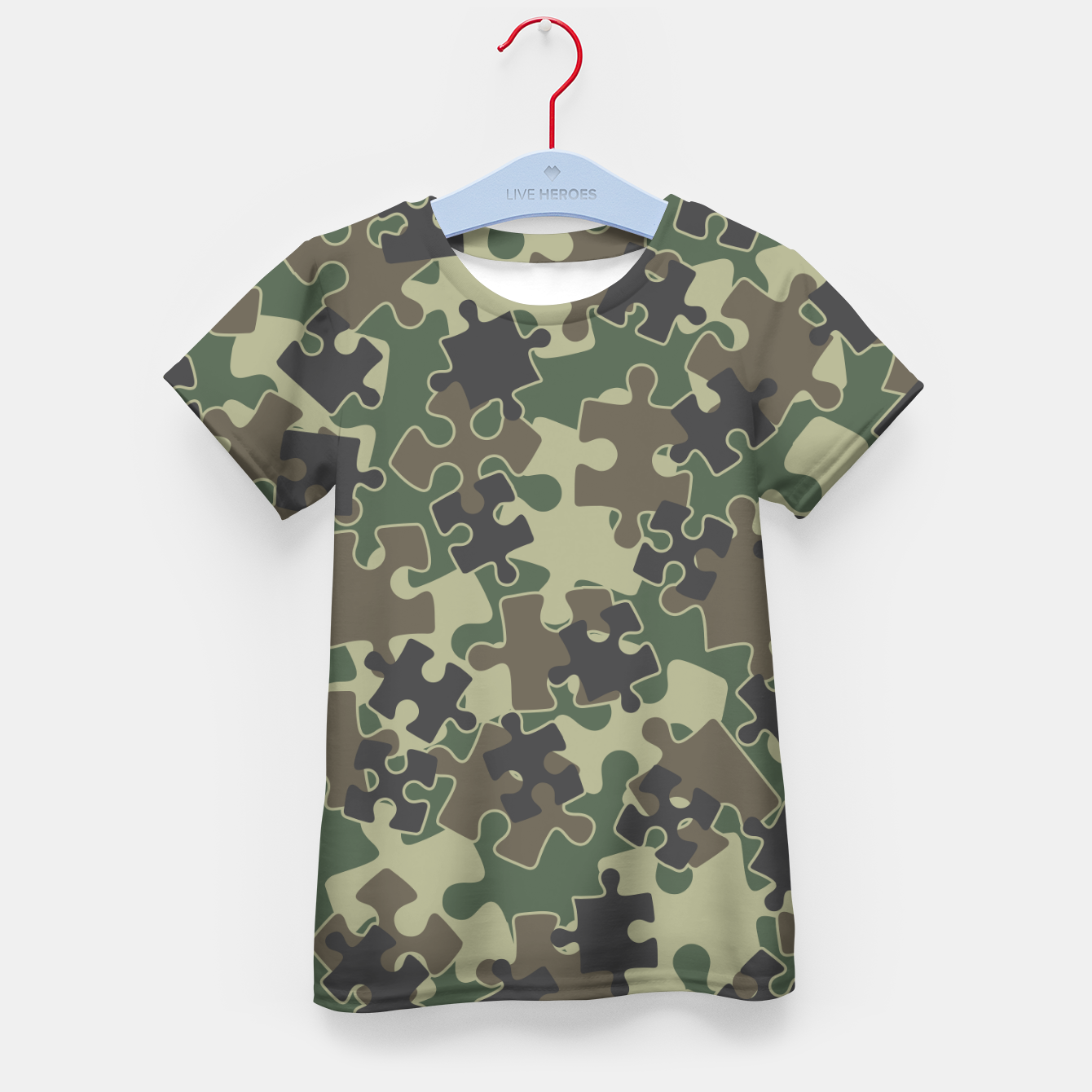 Image of Jigsaw Puzzle Pieces Camo WOODLAND GREEN Kid's t-shirt - Live Heroes