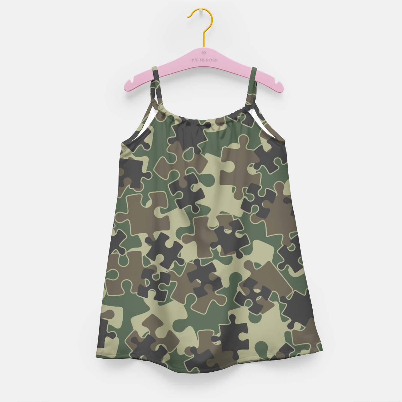 Image of Jigsaw Puzzle Pieces Camo WOODLAND GREEN Girl's dress - Live Heroes