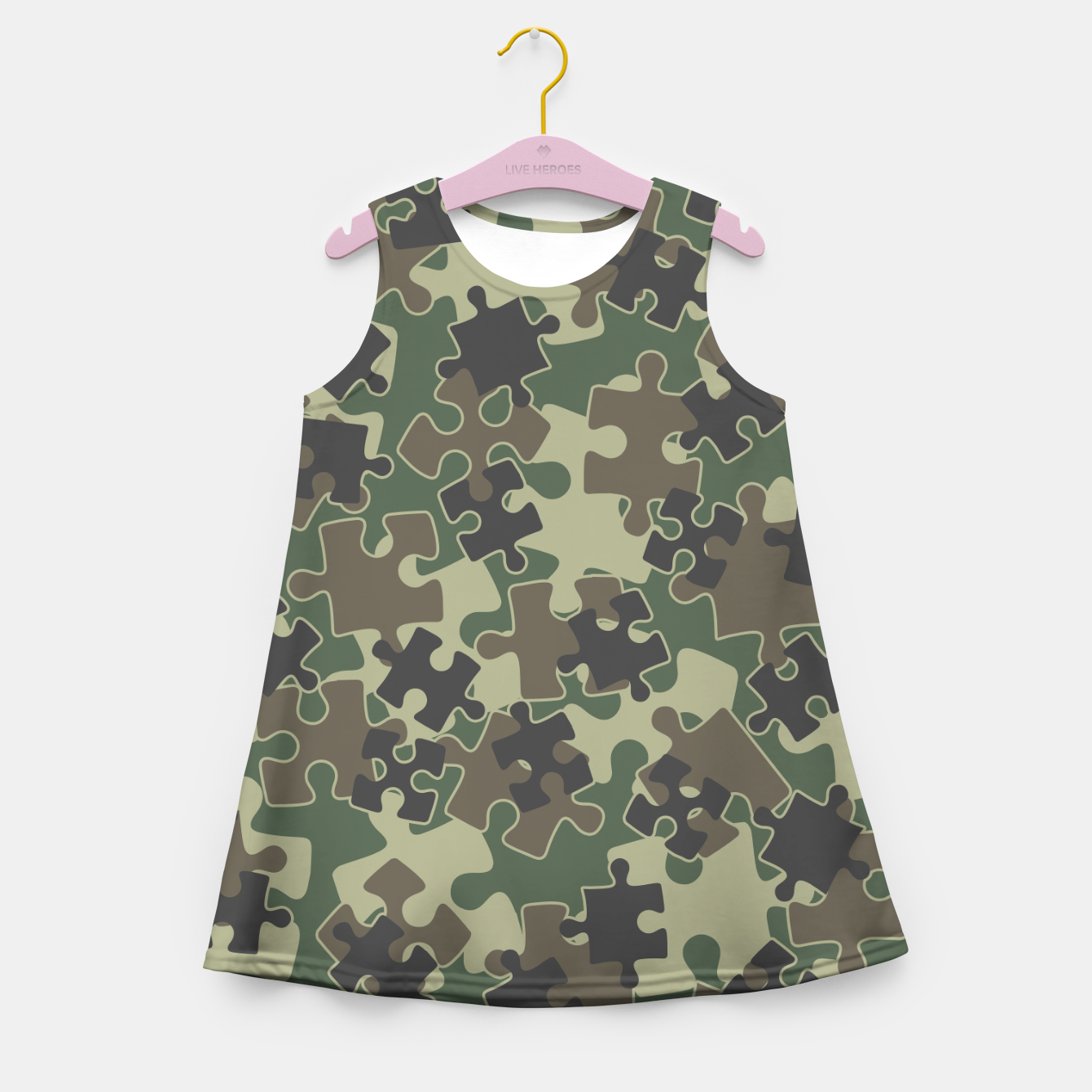 Image of Jigsaw Puzzle Pieces Camo WOODLAND GREEN Girl's summer dress - Live Heroes