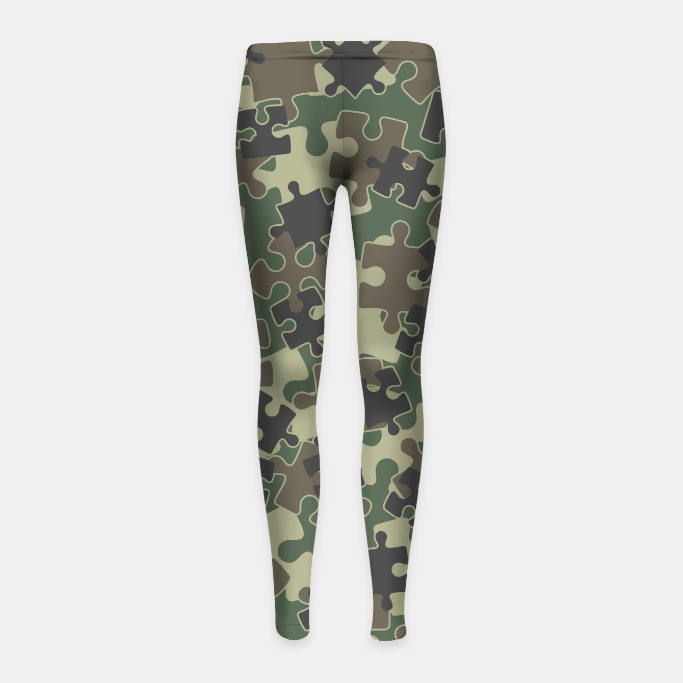 Image of Jigsaw Puzzle Pieces Camo WOODLAND GREEN Girl's leggings - Live Heroes