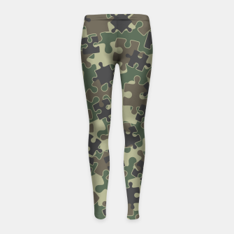 Miniatur Jigsaw Puzzle Pieces Camo WOODLAND GREEN Girl's leggings, Live Heroes