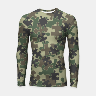 Thumbnail image of Jigsaw Puzzle Pieces Camo WOODLAND GREEN Longsleeve rashguard , Live Heroes