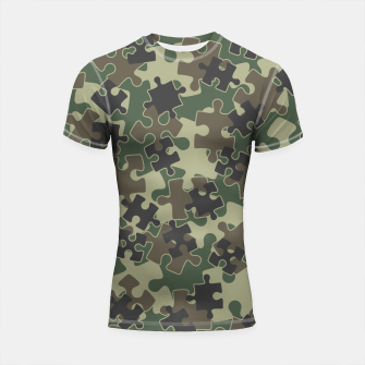 Thumbnail image of Jigsaw Puzzle Pieces Camo WOODLAND GREEN Shortsleeve rashguard, Live Heroes