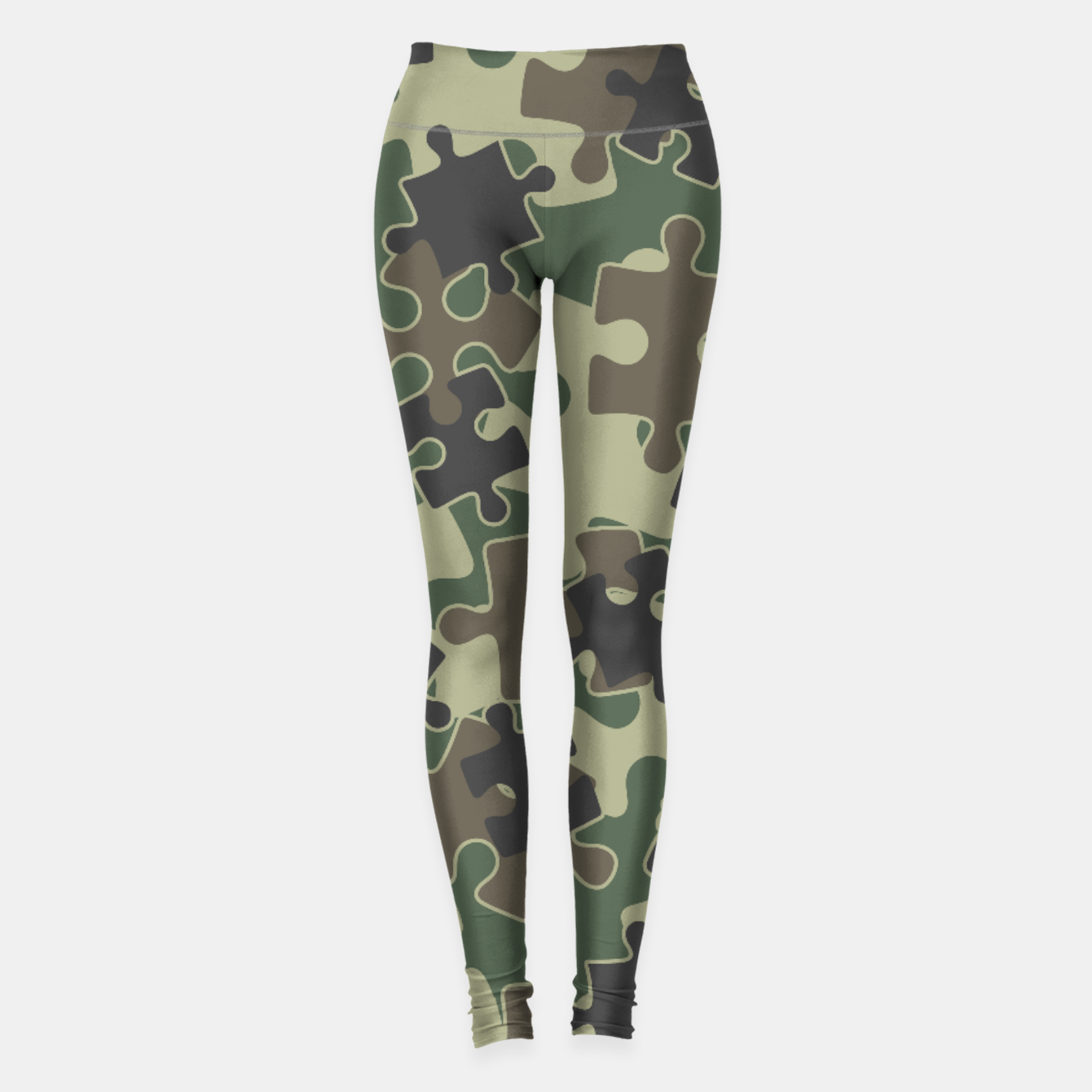 Image of Jigsaw Puzzle Pieces Camo WOODLAND GREEN Leggings - Live Heroes