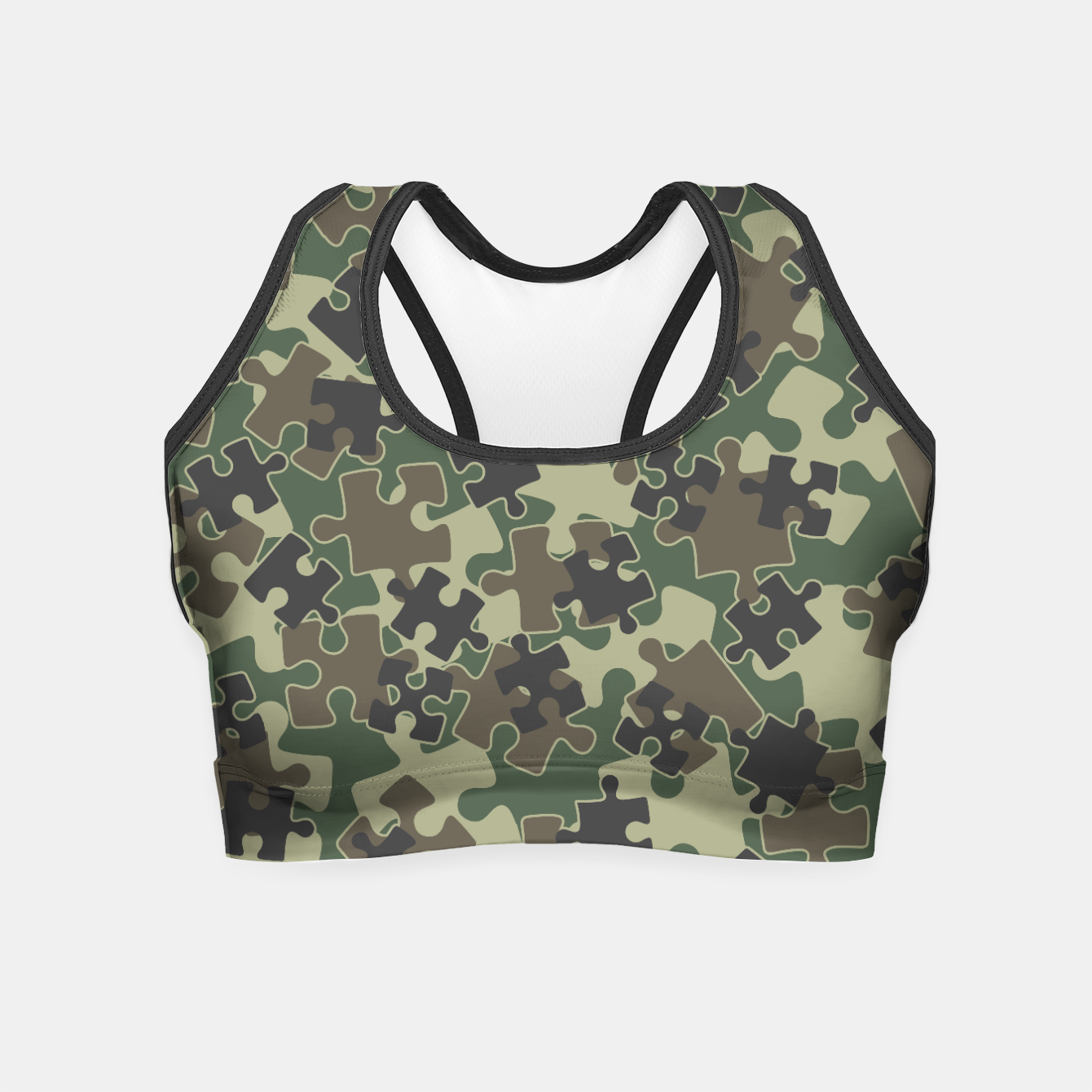 Image of Jigsaw Puzzle Pieces Camo WOODLAND GREEN Crop Top - Live Heroes