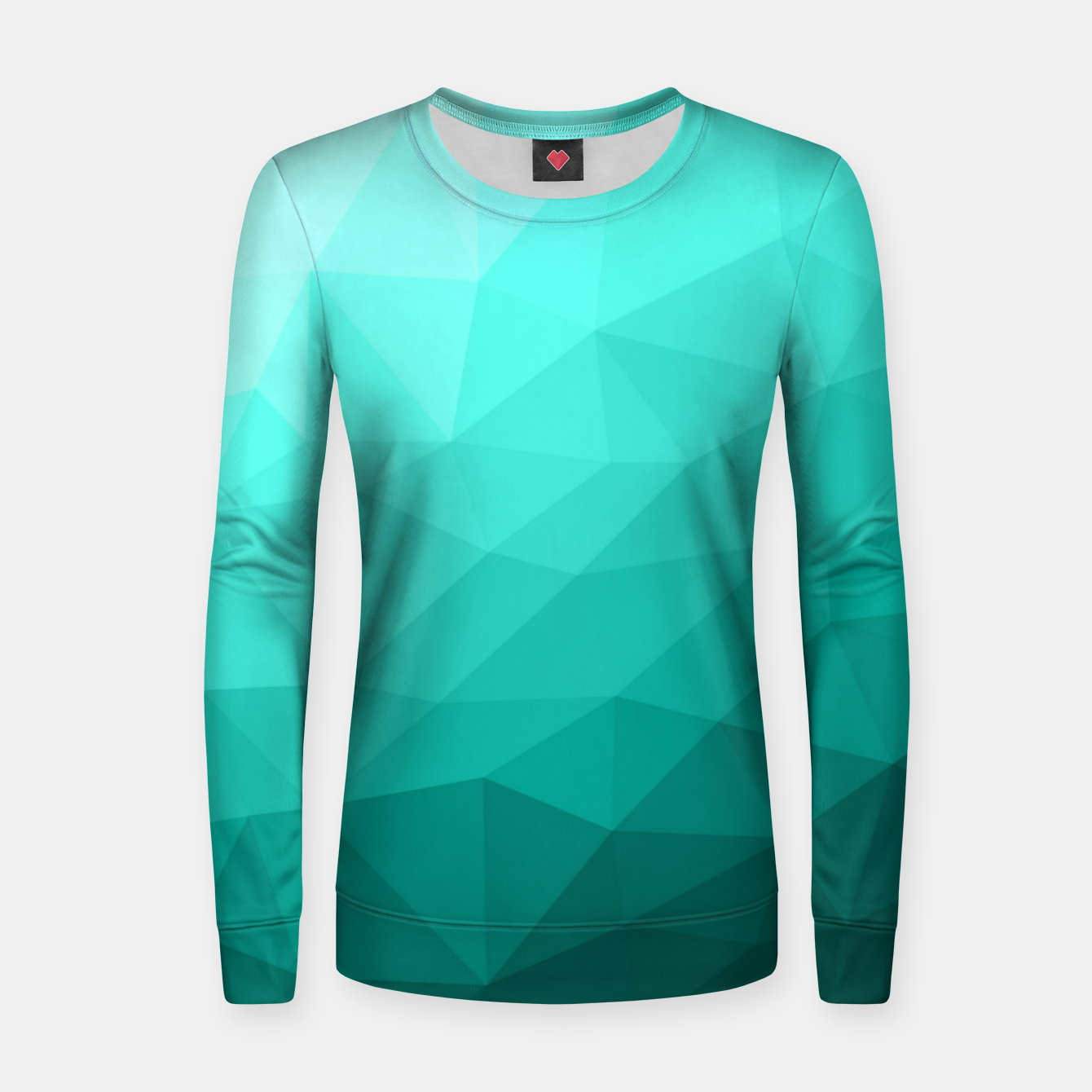 Image of Aqua Turquoise Gradient Geometric Mesh Pattern Women sweater - Live Heroes