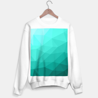 Aqua Turquoise Gradient Geometric Mesh Pattern Sweater regular thumbnail image