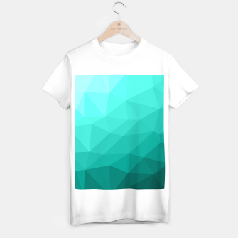 Thumbnail image of Aqua Turquoise Gradient Geometric Mesh Pattern T-shirt regular, Live Heroes