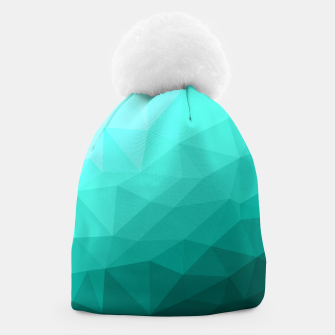 Thumbnail image of Aqua Turquoise Gradient Geometric Mesh Pattern Beanie, Live Heroes