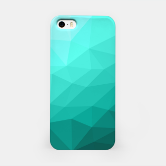 Aqua Turquoise Gradient Geometric Mesh Pattern iPhone Case thumbnail image