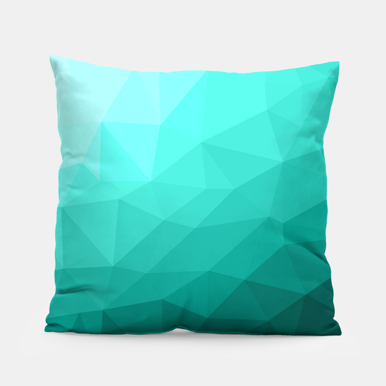 Image of Aqua Turquoise Gradient Geometric Mesh Pattern Pillow - Live Heroes