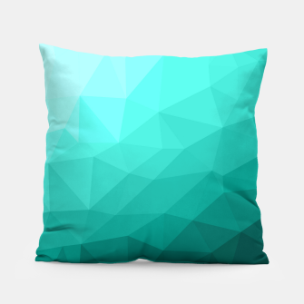 Thumbnail image of Aqua Turquoise Gradient Geometric Mesh Pattern Pillow, Live Heroes