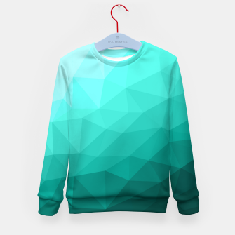 Thumbnail image of Aqua Turquoise Gradient Geometric Mesh Pattern Kid's sweater, Live Heroes