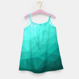 Aqua Turquoise Gradient Geometric Mesh Pattern Girl's dress thumbnail image