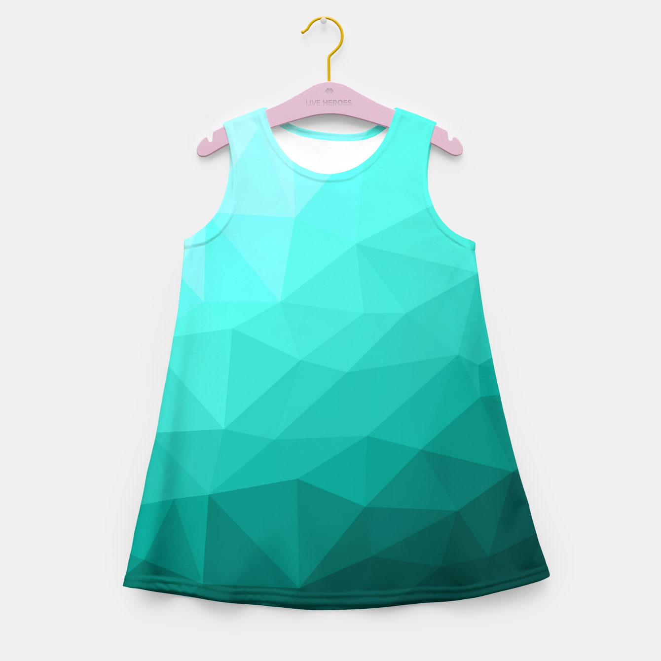 Image of Aqua Turquoise Gradient Geometric Mesh Pattern Girl's summer dress - Live Heroes