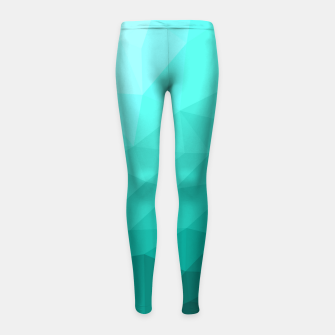 Thumbnail image of Aqua Turquoise Gradient Geometric Mesh Pattern Girl's leggings, Live Heroes