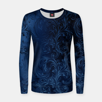 Thumbnail image of Blue Faux Velvet Swirls Women sweater, Live Heroes
