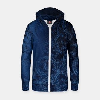 Thumbnail image of Blue Faux Velvet Swirls Zip up hoodie, Live Heroes