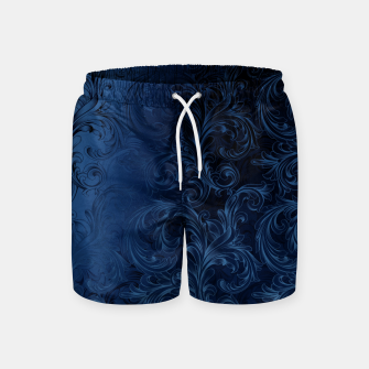 Thumbnail image of Blue Faux Velvet Swirls Swim Shorts, Live Heroes
