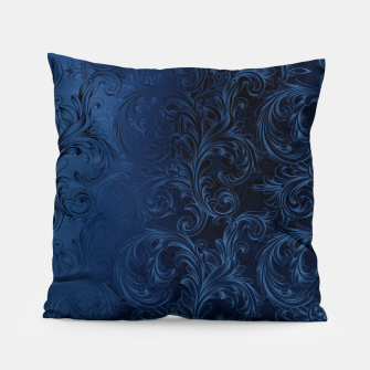 Thumbnail image of Blue Faux Velvet Swirls Pillow, Live Heroes