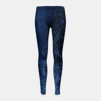 Thumbnail image of Blue Faux Velvet Swirls Girl's leggings, Live Heroes