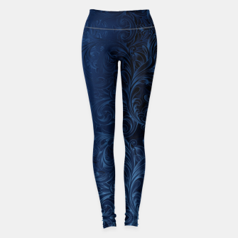 Thumbnail image of Blue Faux Velvet Swirls Leggings, Live Heroes