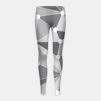 Miniaturka Abstract geometric pattern - gray and white. Girl's leggings, Live Heroes