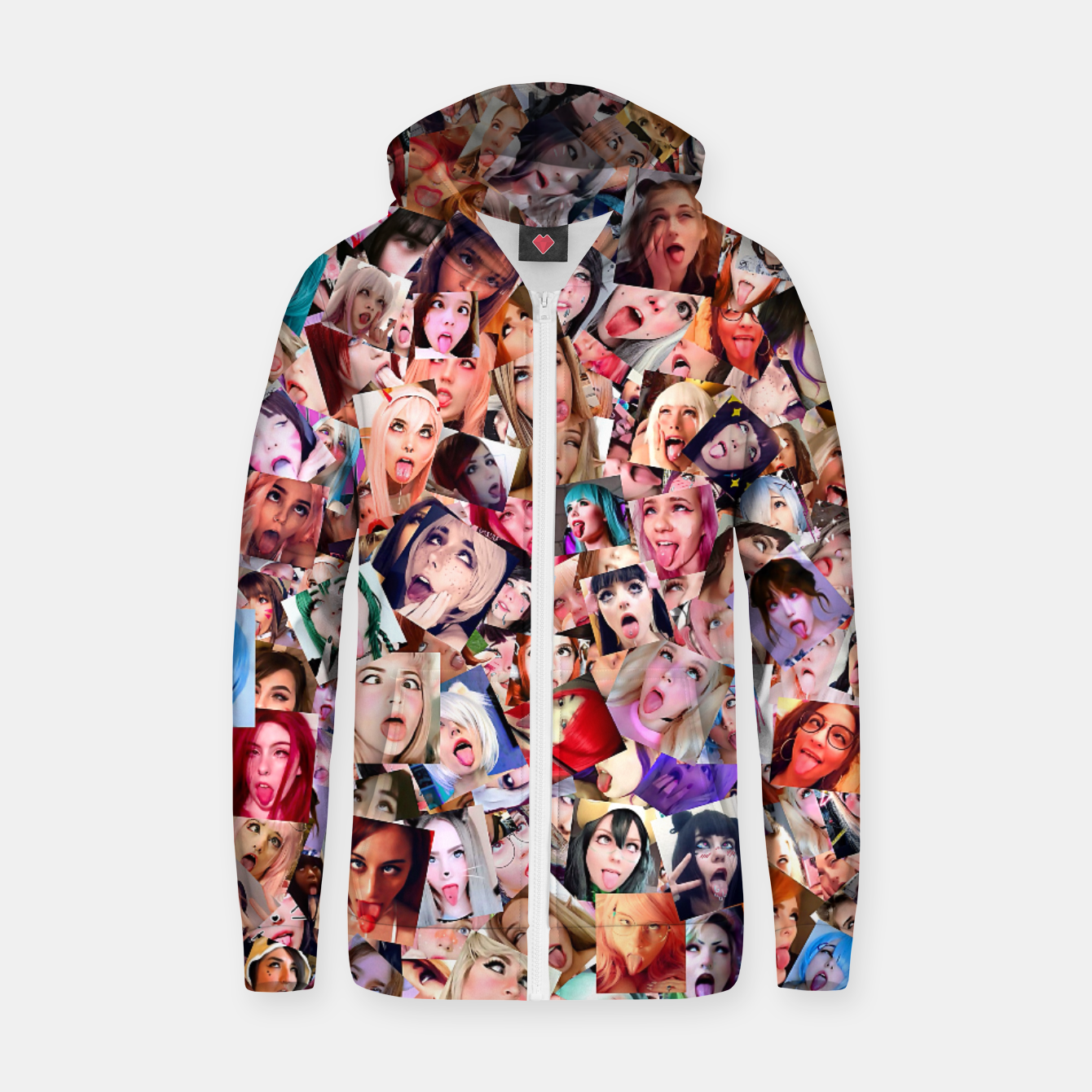 Image of Real 3D Ahegao cosplay Zip up hoodie - Live Heroes
