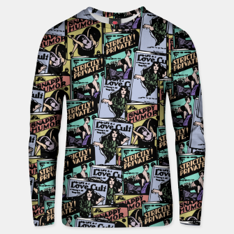 Thumbnail image of comic books pattern Unisex sweater, Live Heroes