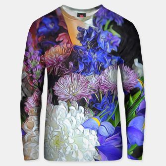 Thumbnail image of Blue White Purple Floral Unisex sweater, Live Heroes