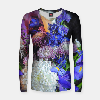 Miniaturka Blue White Purple Floral Women sweater, Live Heroes